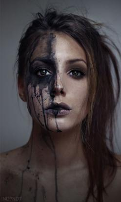 'More great photography inspiration | From up North' this is similar to my splatter art style...: Face, Makeup, Art Style, Dark Photography Idea, Portrait Photography Idea, Photography Inspiration, Photography Ideas