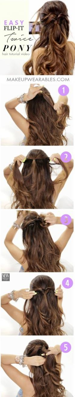 5 Minute Half-Updo #Hairstyles | #hair tutorial: Back To School Hairstyle, Lazy Hairstyle, 5 Minutes Hairstyle, Hairdos, Long Hair Tutorial, Hair Do, Half Updo Hairstyle, 5 Minute Hairstyle, Easy Hairstyles Tutorial