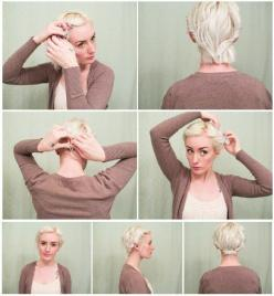 5 Updos for Short Hair: Easy Cropped Hair Tutorials | Latest-Hairstyles.com: Twisted Updo, Easy Short Hair Updo, Hair Styles, Hairstyle, Bob Updo, Shorthair, Updos For Bob, Easy Updo