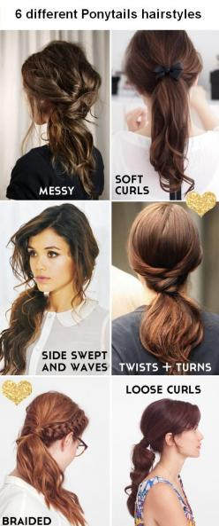 6 different Ponytails hairstyles: Hair Ideas, Ponytails, Hairstyles, Hair Styles, Hairdos, Long Hair, Hair Do, Pony Tails