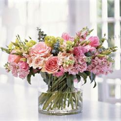 A classic English hand-tied bouquet.  Arrange the stems in a spiral and fasten with floral tape, cut the stems and place in a cylindrical vase.: Beautiful Flower, Centerpiece, Flower Arrangements, Bouquets, Pink, Floral Arrangements, Flowers, Garden