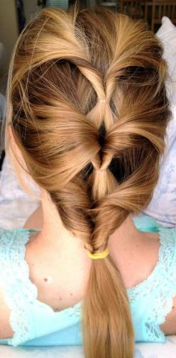 A Cute Creative Hairstyle I've Honestly Never Ever Seen Before! Would You Wear It? (I Would!): Girls in the Beauty Department: Beauty: glamour.com: Hair Ideas, Hairstyles, Hair Styles, Hairdos, Makeup, Hair Do, Hair Twist