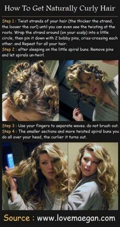 A great way to set my already curly hair so I don't wake up with crazy curls.: Hair Ideas, Hairstyles, Hair Styles, Hair Tutorial, Makeup, Curls, Naturally Curly Hair, Beauty