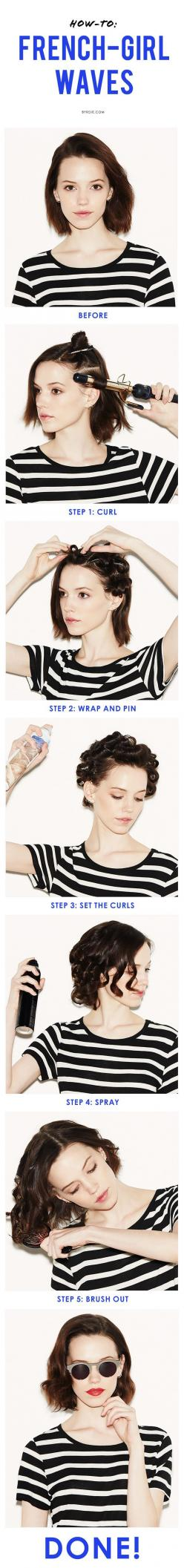 A guide to making waves. #hairstyle #tutorial #beauty: Short Hair, French Waves, Hair Tutorial, French Girls, Hair Style, Cool Girl Waves, Step By Step Guide