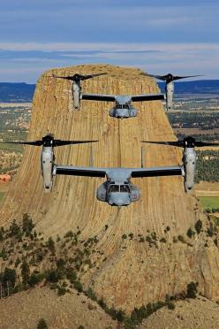 """A pair of U.S. Marine Corps Bell Boeing MV-22B Ospreys of the VMM-363 """"Red Lions"""" at Devils Tower, Wyoming. This photo by Ted Carlson was an honorable mention in the 2013 Vertical Photo Contest.: Aircraft, Boeing Mv 22B, Vmm 363 Red, Devils Tower, Marine"""