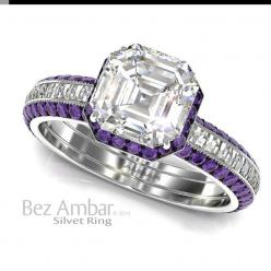 A Silvet Amethyst engagement ring with a 1.01ct Asscher cut diamond center, under bezel amethyst frame and Blaze® diamonds set shank.: Cut Diamond, Amethyst Frame, Ring Enhancer, Purple, Diamonds, Silvet Amethyst, Amethyst Rings, Amethyst Engagement Rings