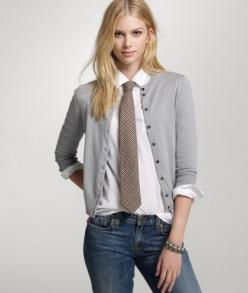 A woman can rock a tie just as well also!: Cardigans, Fashion, Girls In Ties, Style, Women In Ties Outfits, Girls With Ties, Google Search, Women Wearing Ties Outfits, Girls Wearing Ties