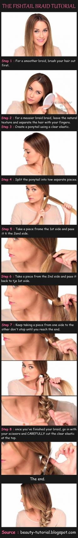 After living through this fad in the 90s, and bemoaning that I'd never have hair as cool as the Babsitter's Club, I FINALLY figured out the fishtail braid in the year 2013. Thank you, Lauren Conrad.: Fishtail Braid Tutorials, Hairstyles, Hair Styl