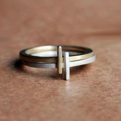 Alternative wedding ring,  Modern stack rings - geometric rings - 14k gold and recycled sterling silver - recycled - eco friendly - metropolis - made to order: Stack Rings, 14K Gold, Wedding Band, Modest Engagement Ring, Stacking Rings, Diamond Earrings,