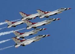 AMAZING USAF Thunderbirds at Nellis AFB. I get to watch them fly by sometimes from the front porch... plus an assortment of F-22s, F-16s, F-18s, A-10s, C-130s, AWACs, F-117s, B-2s... and a RED FLAG cast of thousands. http://en.wikipedia.org/wiki/Red_Flag_