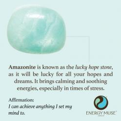 Amazonite is known as the lucky hope stone, as it will be lucky for all your hopes and dreams! It brings calming and soothing energies, making it the perfect healing crystal for times of stress.: Lucky Hope, Gemstone, Healing Crystals, Hope Stone, Crystal