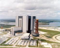 An aerial view of the Apollo 11 rollout from the Vehicle Assembly Building to the launch complex. May 20, 1969. (Source: NASA): Moon, Nasa, Apollo 11, Cape, Rocket, 1969, Space