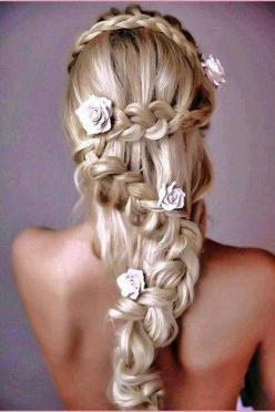 An angelic zig-zag braided hairdo with a dose of roses! Braided Wedding Hairstyle: Hair Ideas, Hairstyles, Hair Styles, Wedding Ideas, Makeup, Beautiful, Braids, Beauty