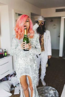 And honestly, after looking at these photos you might want to do the same.- rockstar wedding: Las Vegas, Pink Hair, Style, Wedding Ideas, Hairs, Wedding Photo, Couple, Vegas Weddings, Hair Color