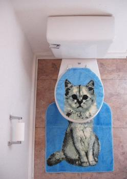 And Of Course, This Toilet Seat Cover: | Community Post: 20 Cat-Themed Items You Need For Your House Right Meow: Cats, Kitty Cat, Funny, Crazy Cat, Bathroom, Toilet Seats, Cat Lady