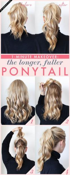 …and super-quick hairstyles for busy mornings. | 17 Life-Changing Things You'll Learn From The BuzzFeed DIY Newsletter: Fuller Ponytail, Pony Tail, Hairstyles, Idea, Hair Styles, Makeup, Beauty, Long Ponytail