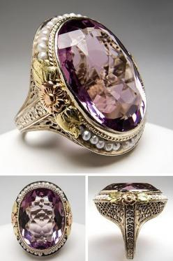 Antique Natural Amethyst & Seed Pearl Cocktail Ring 14K Gold. This spectacular antique amethyst & seed pearl cocktail ring is crafted of solid 14k white, green, yellow, and rose gold. The setting features intricate floral details and filigree. Thi