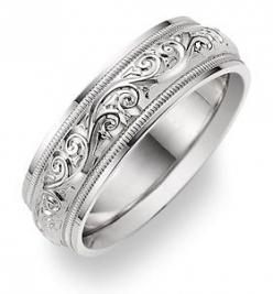 applesofgold.com - Paisley Design White Gold Wedding Band Ring - one of our best selling wedding rings for men & women, in 14k solid white gold or platinum.: Gold Wedding Bands, Paisley Wedding, Paisley Design, Wedding Band Rings, Jewelry, White Gold