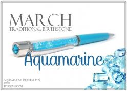 Aquamarine crystal pen. March birthstone.: Christmas Wishes, Birth Month, Month March