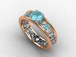 Aquamarine filigree engagement ring made from rose gold and white gold by TorkkeliJewellery, $2090.00: Aquamarine Engagement Rings, Unique Wedding Rings, Filigree Ring, White Gold, Blue Engagement, Unique Weddings, Red Gold, Rose Gold