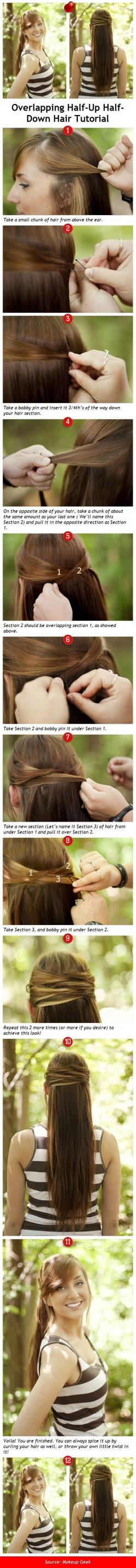 Are you looking for an easy overlapping hairstyle? If so, follow this tutorial.: Overlapping Hair, Hairdos, Hair Styles, Long Hair, Hair Tutorial, Hair Do, Hairstyle, Half Down Hair, Overlapping Half Up