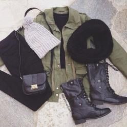army green jacket with a black cropped sweater, black skinny jeans and combat boots! perfect fall/autumn/winter outfit: Fashion, Combat Boot, Style, Dream Closet, Winter Outfits, Fall Outfit, Fall Winter