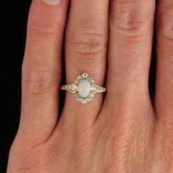 Art Nouveau Opal, Diamond, and Gold Halo Ring | From a unique collection of vintage engagement rings at http://www.1stdibs.com/jewelry/rings/engagement-rings/: Art Nouveau Ring, Gold Vintage Engagement Ring, Vintage Opal Ring, Unique Engagement Ring, Opal