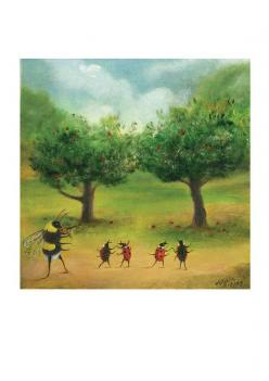 "Art Print of an Original Animal Painting - ""The Orchard Gavotte"" - by TheLitusGallery, £15.00 featuring a bee playing violin for dancing ladybugs: Animal Paintings, Bee Lovin, Art Bug, Art Prints, Bee Cottage"