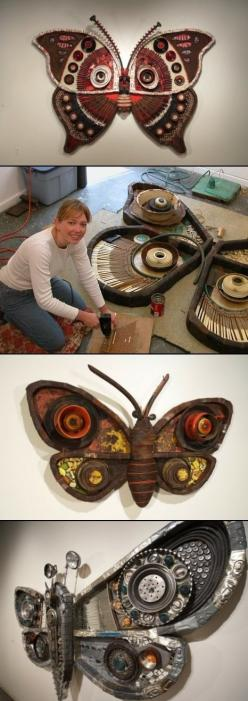 Artist Michelle Stitzlein's 'Moth' series is a collection of large, incredibly detailed, sculptures of moths created from recycled items such as: license plates, car parts, piano keys, broken china, rusty tin cans, electrical wire, bottle caps, mirrors, t
