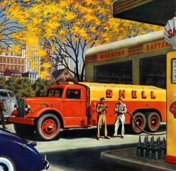 Autocar Tanker  This beautiful illustration from 1943 was painted by William Campbell for Autocar Trucks. Popular with boys of all ages.: Service Stations, Cars Posters, Shell Tanker, Vintage Gas, Gas Stations, Autocar Tanker