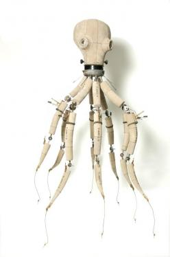 Awesome octopus armature!  Looks like it has cables for hand control movements too.: Puppets, Octopus Sculpture Wood, Articulated Octopus, Metal, Steampunk Robots, Steampunk Sculpture, Cephalopod