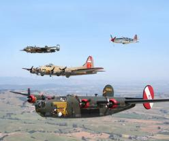 "B24J Consolidated Liberator bomber, ""Witchcraft"", Tail #252534, in a three bomber and one fighter formation.: Mustang, Wwii, Aircraft, Flying Fortress, B 17 Flying"