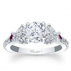 "Barkev's 14K White Gold Diamond Encrusted ""Unique"" Engagement Ring Featuring Marquise Cut Diamonds 0.71 Cts Diamonds and 0.12 Cts Pink Sapphires Style 7996LPSW: Encrusted Unique, Cut Diamonds, Cts Diamonds, Pink Sapphire, Engagement Rings Uniq"
