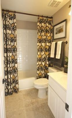 Bathroom...Use regular curtains and take rod to the ceiling - so easy with huge impact!: Bathroom Design, Small Bathroom, Bathroom Idea, Regular Curtain, Home Bathroom, Bathroom Makeover