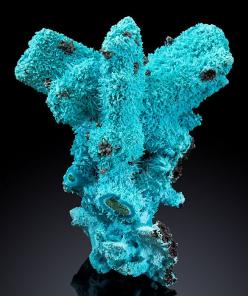 Beautiful blue crystals of Chrysocolla over Malachite ps after Azurite crystals! Luputo, Kakumba, Katanga Copper Crescent, Katanga (Shaba), Democratic Republic of Congo-: Malachite Ps, Minerals Specimens, Gems Minerals Crystals Rocks, Blue Crystals, Gems