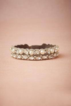 BHLDN: Vintage Wedding, Bracelets, Side By Side Bracelet, Wedding Band, Wedding Dress, Gorgeous Bracelet, Pretty Pearl