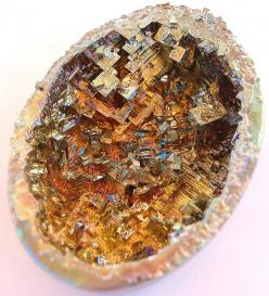 Bismuth Geode/ bismuth that has been grown and cooled in an eggshell! Apparently bismuth is one of the easiest crystals to grow yourself. Bismuth does not naturally occur in geode form. What fun to create your own dragon's egg!: Diy Fossil, Gems Miner