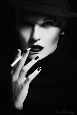 ♀ Black and white woman portrait face of Lady Ann by Liudmila Wilchevskaya: Smoking, Liudmila Wilchevskaya, White, Black, Photography, Smoke