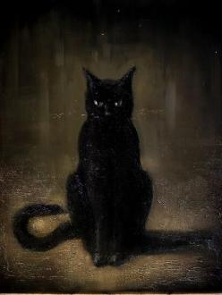 black cat: Cat Art, Chat Noir, Catart, Black Cats, Cat Paintings, Blackcats, Black Cat Painting, Animal