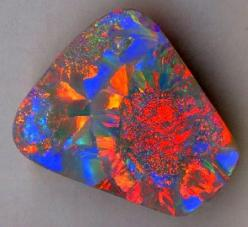 "Black opal is the most coveted of all opal varities. The ""black"" in black opal means the gem has a very dark body tone. A black opal can be crystal or opaque. The rarest colour is red, next is green and orange with blue as the most common colour."