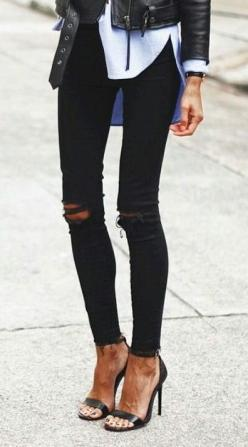 black ripped jeans. sandals. leather jacket.: Ripped Jeans, Fashion, Black Skinny Jean, Style, Outfit, Leather Jackets, Black Jeans, Black Ripped Skinny Jeans, Fall Winter