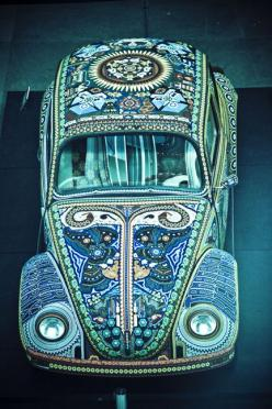 Blue Hippie VW ... SealingsAndExpungements.com... 888-9-EXPUNGE (888-939-7864)... Free evaluations..low money down...Easy payments.. 'Seal past mistakes. Open new opportunities.'.: V Dub, Vdub, Vw Bugs, Blue, Cars, Mosaic, Beetles