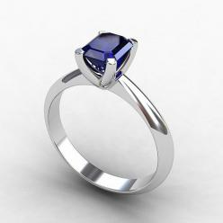 Blue sapphire ring, 18k White Gold, Blue engagement, Solitaire, Blue sapphire, Blue, Wedding ring, White gold engagement, Birthstone. $1,900.00, via Etsy.: White Sapphire Ring, Sapphire Blue Weddings, Blue Sapphire Rings, Blue Wedding Rings, Diamond, Blue