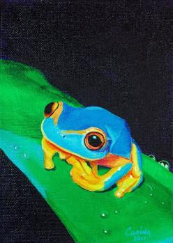 Blue Tree Frog: Frog Painting, Color, Tree Frogs, Wildlife Art, Frogs Turtles, Animal