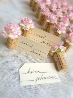 Blush Pink Wedding Place Card Holders, made using vintage wine corks. Easy DIY wedding project! Makes a stunning place card table. Flowers only available too, from Kara's Vineyard Wedding. Cheers!: Place Card Holders, Wine Corks, Place Setting, Weddin