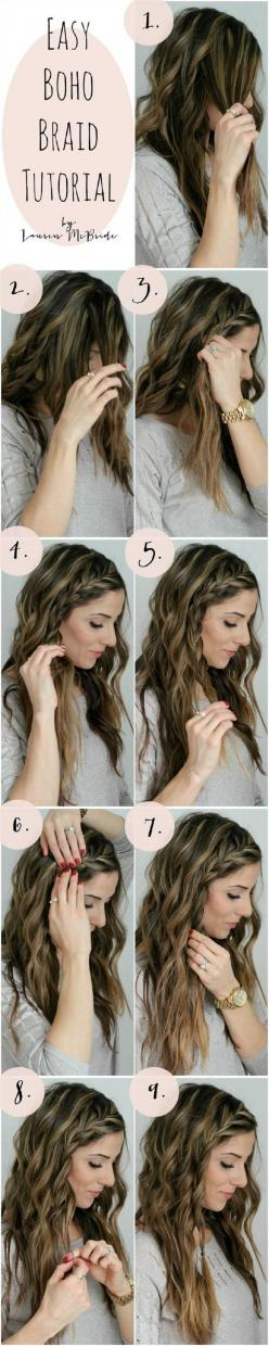 boho braid Tutorial - 16 Hippy DIY Tutorials for All Boho-Chic Princesses | GleamItUp: Hairstyles, Hair Tutorial, Hair Style, Hair Color, Boho Braid