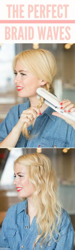 Braid your hair, then heat it up by pressing a flat iron over it to make imperfect waves. Check out the website to see more: Flat Irons, Imperfect Waves, Hair Ideas, Hair Hack, Hairstyles, Hair Styles