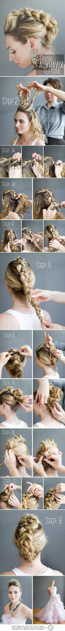 Braided faux hawk https://www.stonebridge.uk.com/course/hairdressing-qcf-diploma-level-3: Wedding Hair, Wedding Updo Tutorial, Hair Tutorial, Hair Style, Faux Hawk, Concert Hairstyle, Braided Mohawk