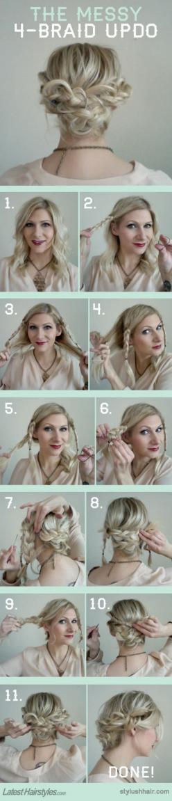 Braided updo #doactiveproducts #howdoyoudo?: Hairstyles, Hairdos, Hair Styles, Hair Tutorial, Messy Updo, Updos, Hair Do