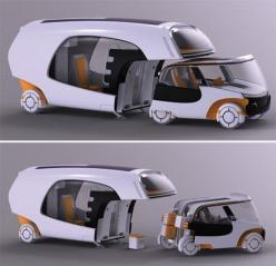 Bridging the gap between caravans and regular cars, designer Christian Susana has popped up with a multifunctional vehicle that functions as a caravan, when used as a whole, but when detached from the home part, it can also be used as a small car. Named C